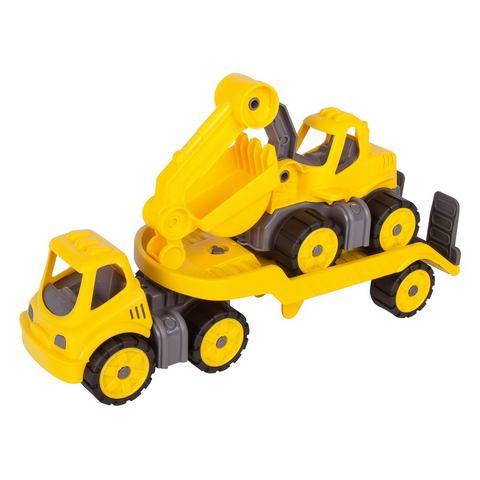 BIG speelgoedauto, »BIG Power Worker Mini Transporter en Graafmachine geel« (2-dlg.)