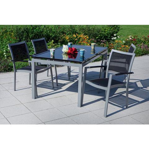 MERXX Tuinmeubelset Arezzo, 4 stapelstoelen, tafel160x90 cm, aluminium/textiel, zwart