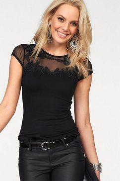 melrose shirt met ronde hals met kantapplicatie zwart