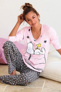 peanuts pyjama in een lang model met schattig snoopy-design roze