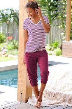 capripyjama met gestreept T-shirt en casual broek