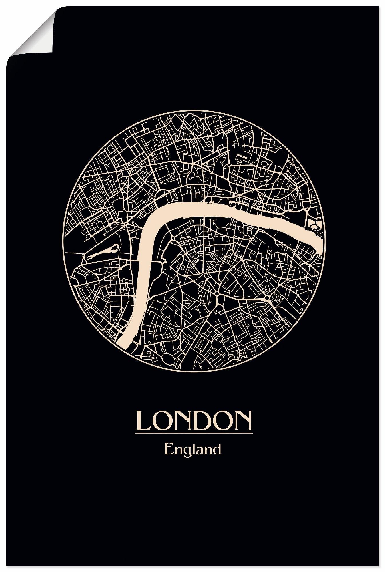 Artland artprint Retro kaart Londen Engeland cirkel in vele afmetingen & productsoorten - artprint van aluminium / artprint voor buiten, artprint op linnen, poster, muursticker / wandfolie ook geschikt voor de badkamer (1 stuk) voordelig en veilig online kopen