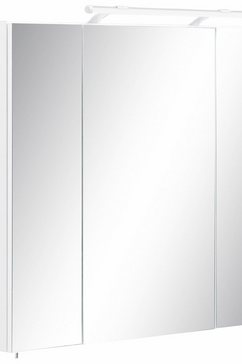schildmeyer spiegelkast dorina breedte 80 cm, 3-deurs, ledverlichting, schakelaar--stekkerdoos, glasplateaus, made in germany wit