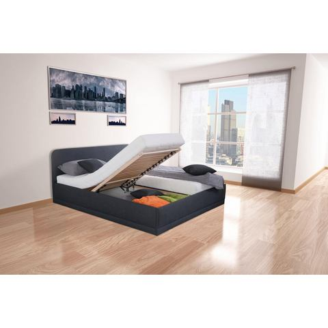 Bed met micro velours binnenveringsmatras H3 zwart Westfalia Polsterbetten 706484