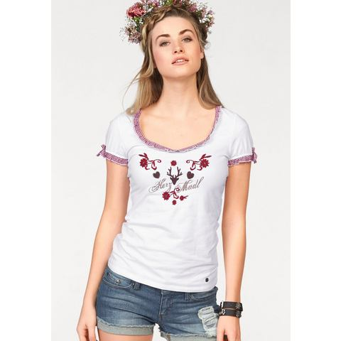 AJC T-shirt met contrastkleurige rucherand