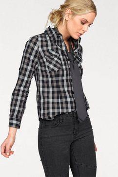 arizona geruite blouse met borstzakken zwart