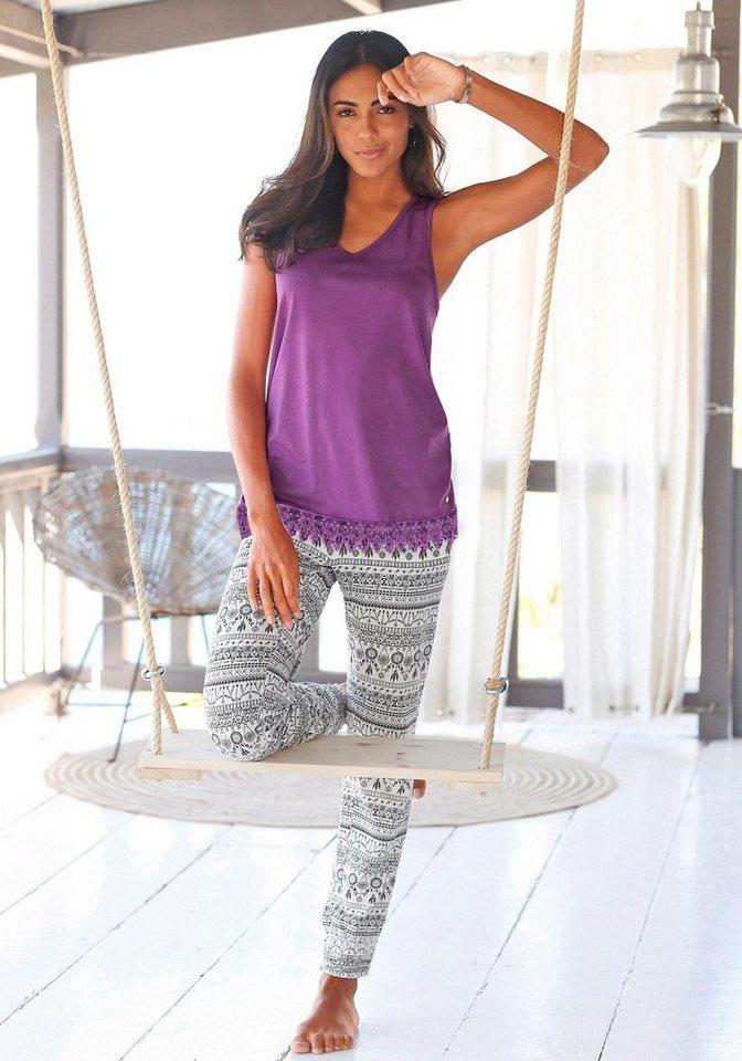 S.OLIVER pyjama in etno-look met kanten zoom aan de tanktop