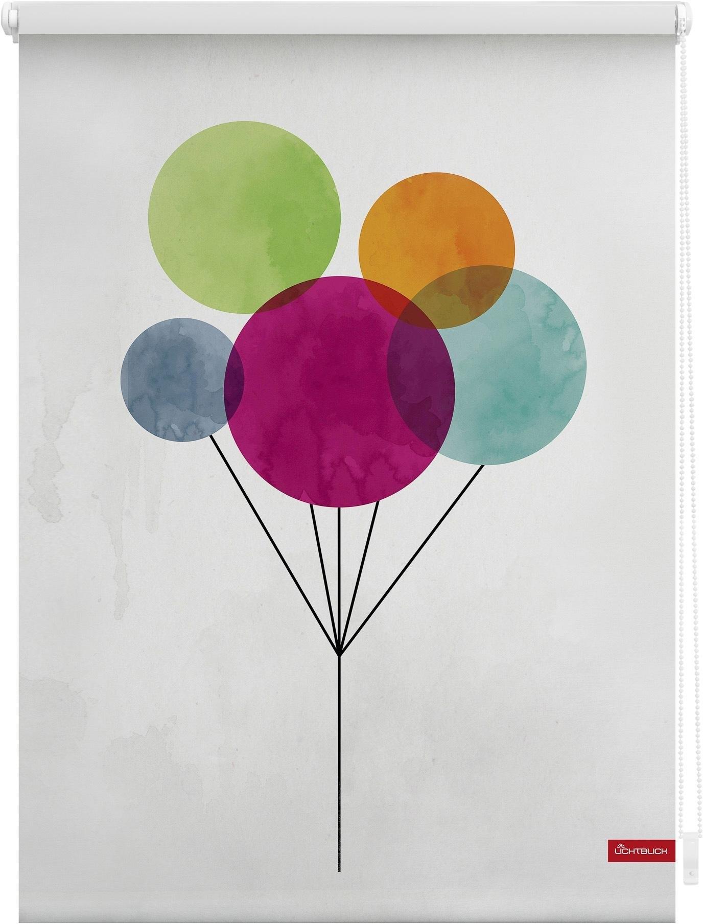 Lichtblick Rolgordijn met zijbediening, »Klemmfix decor ballon«, lichtwerend, standaardmaat - verschillende betaalmethodes