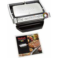 tefal contactgrill gc712d optigrill+ vier temperatuurstanden in handmatige modus, receptenboek en recepten-app zilver