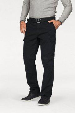 man's world cargobroek met zip-offfunctie (set, met riem) zwart