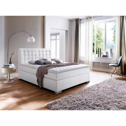 MEISE Boxspring met stiksels 7 zones pocketvering H2 wit Meise 266357