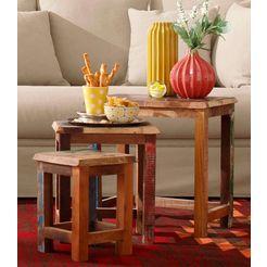 home affaire bijzettafeltje colourful 3-dlg. set multicolor