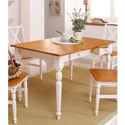 home affaire eettafel van massief grenenhout wit