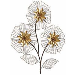 hofmann living and more sierobject voor aan de wand wanddecoratie bloemboeket wanddecoratie, motief bloemen, van metaal goud