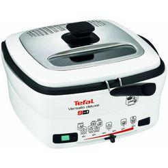 tefal friteuse deluxe fr4950 met spatel, inhoud 1,3 kg, binnenreservoir uitneembaar en antiaanbak gecoat wit