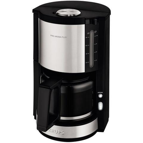 KRUPS koffiezetapparaat ProAroma Plus KM321 met glazen kan, edelstaal-zwart