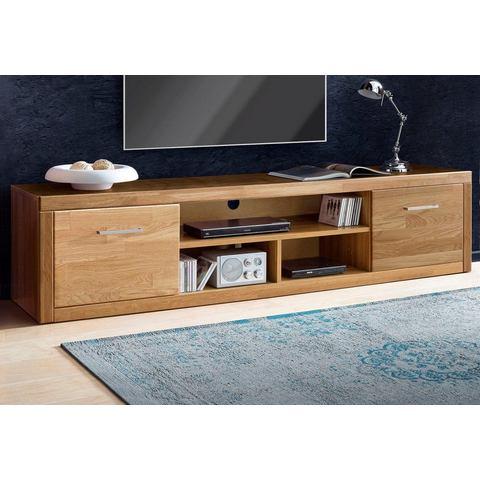 Lowboard breedte 200 cm gedeeltelijk massief eikenhout TV-kast 377