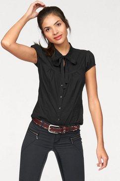 ajc blouse met kraagstrik met een bindstrik zwart