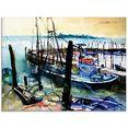 artland print op glas veneti, vissersboten in burano (1 stuk) blauw