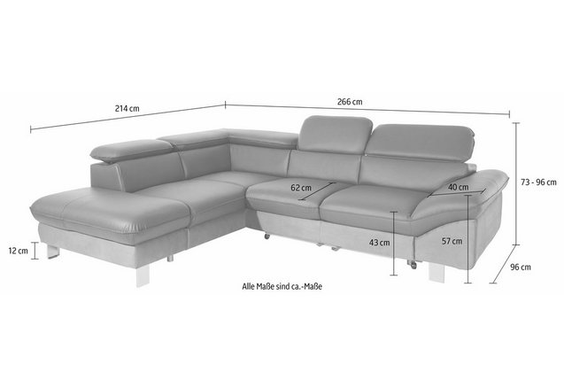 COTTA hoekbank met chaise longue, naar keuze met slaapfunctie snel gevonden   OTTO