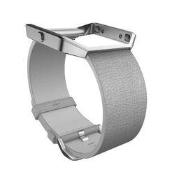 fitbit reserve--verwisselbare armband »leren armband voor blaze in maat l« grijs