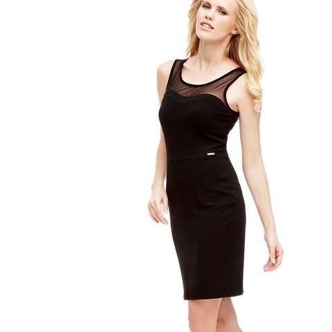 Picture GUESS jurk met halftransparante inzet zwart 644468