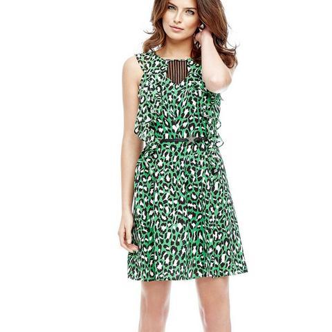 Picture GUESS jurk in animal-look en met volants groen 699691