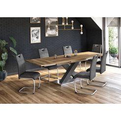 eettafel comfort c met x-frame in grafiet en met uittrekfunctie, breedte 160-260 cm grijs
