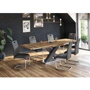 maeusbacher eettafel comfort c met x-frame in grafiet en met uittrekfunctie, breedte 160-260 cm grijs