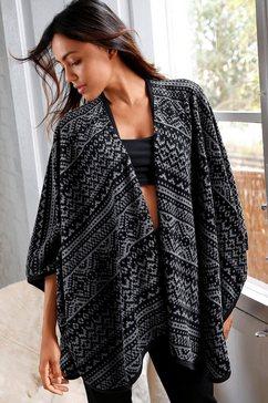 rebelle open poncho in zwart-grijs noorwegen-design zwart