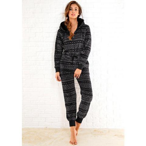NU 15% KORTING: REBELLE jumpsuit van fleece in zwart-grijs Noorwegen-design