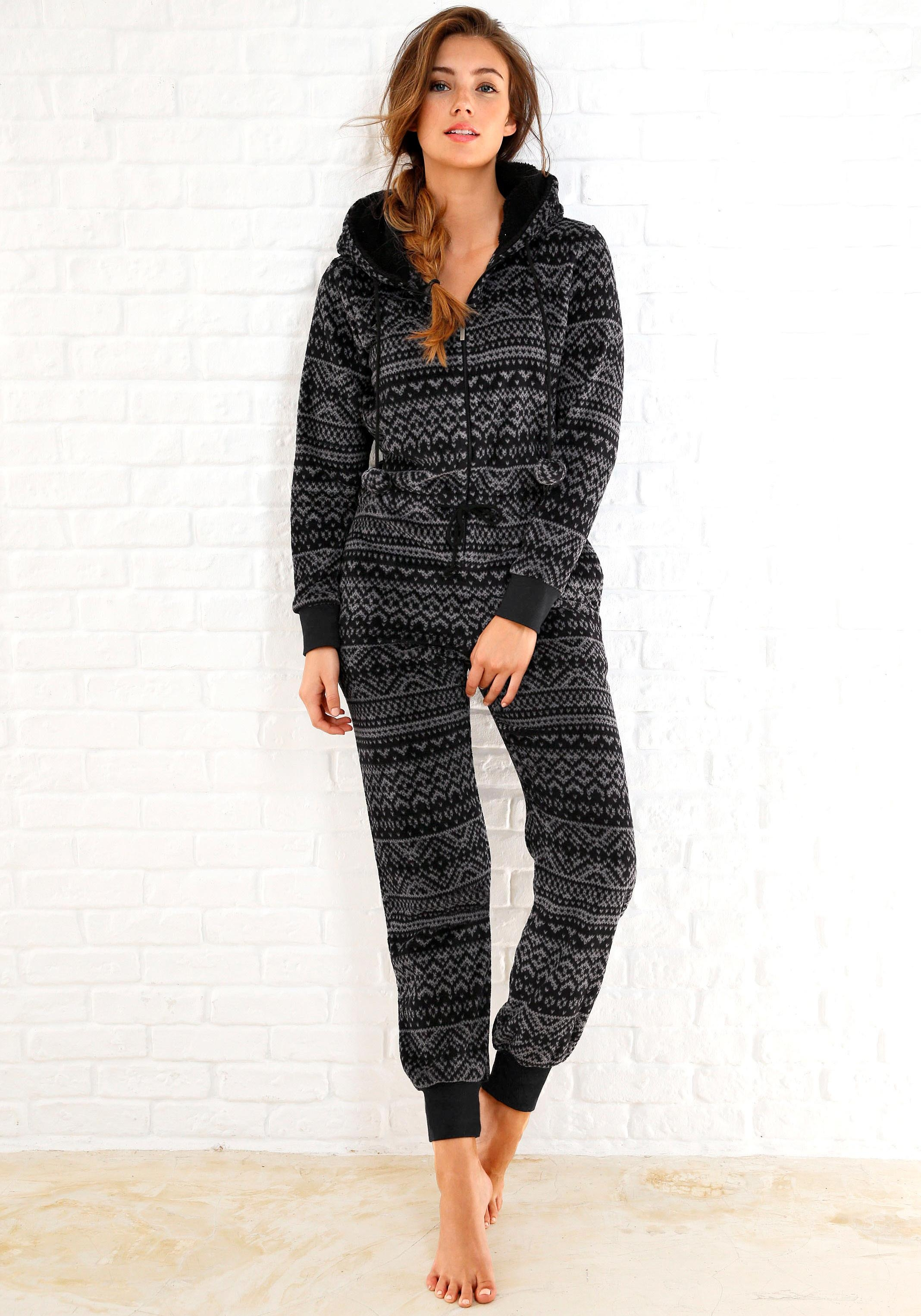 Rebelle jumpsuit van fleece in zwart/grijs Noorwegen-design - gratis ruilen op otto.nl