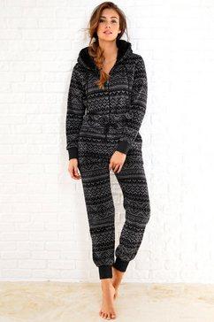 jumpsuit van fleece in zwart/grijs Noorwegen-design