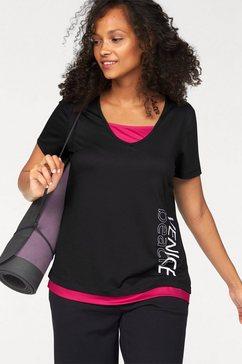 venice beach t-shirt in 2-in-1-stijl zwart
