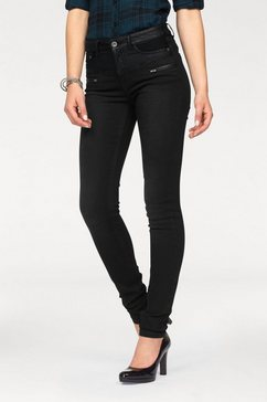 Skinny Fit-jeans »met imitatieleren beleg«