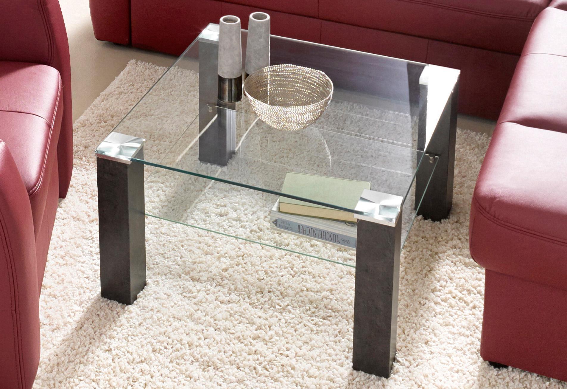 PRO Line salontafel Salontafel vierkant met glasplaat en glasplateau voordelig en veilig online kopen