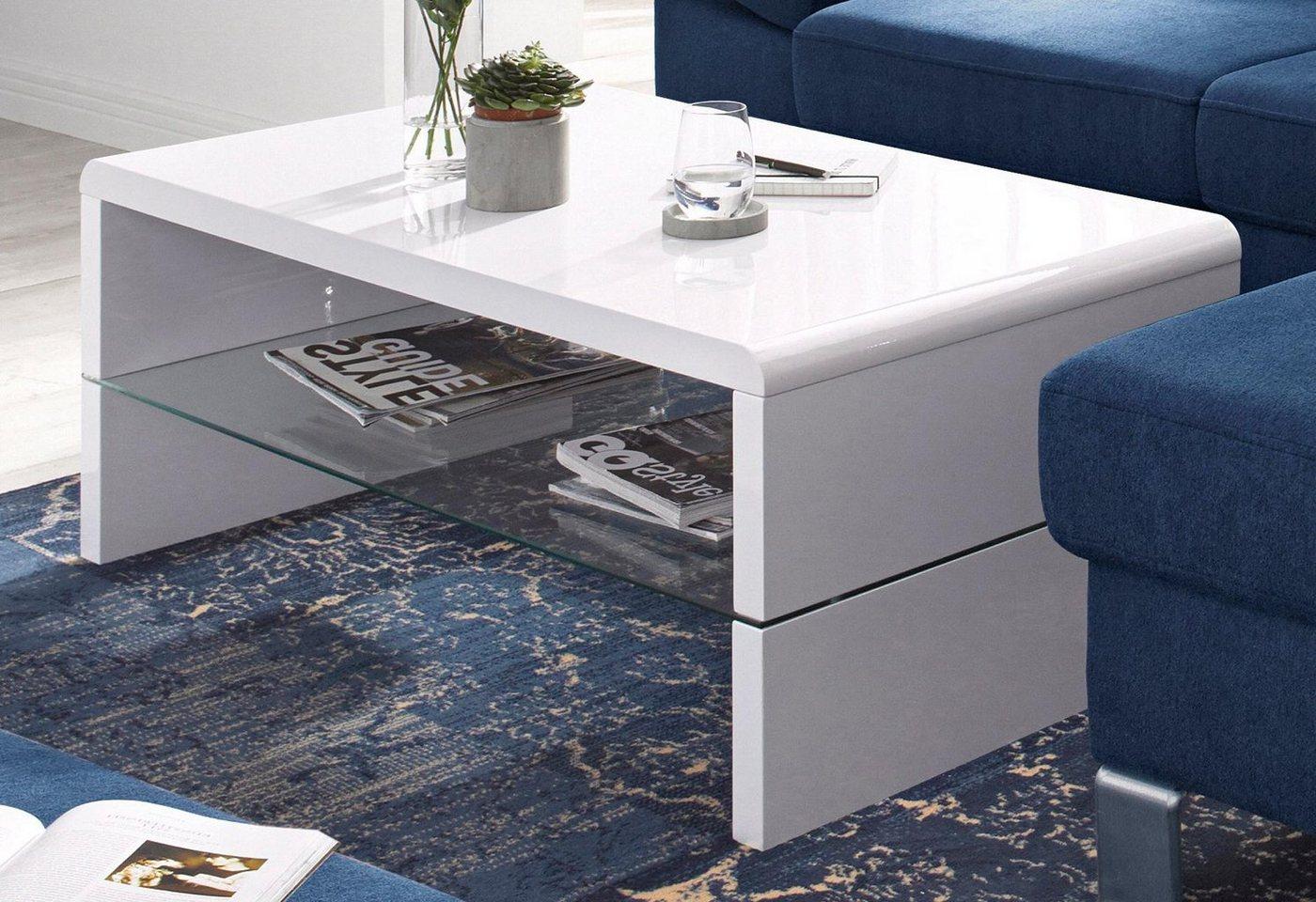Roomed salontafel met plateau van helder glas