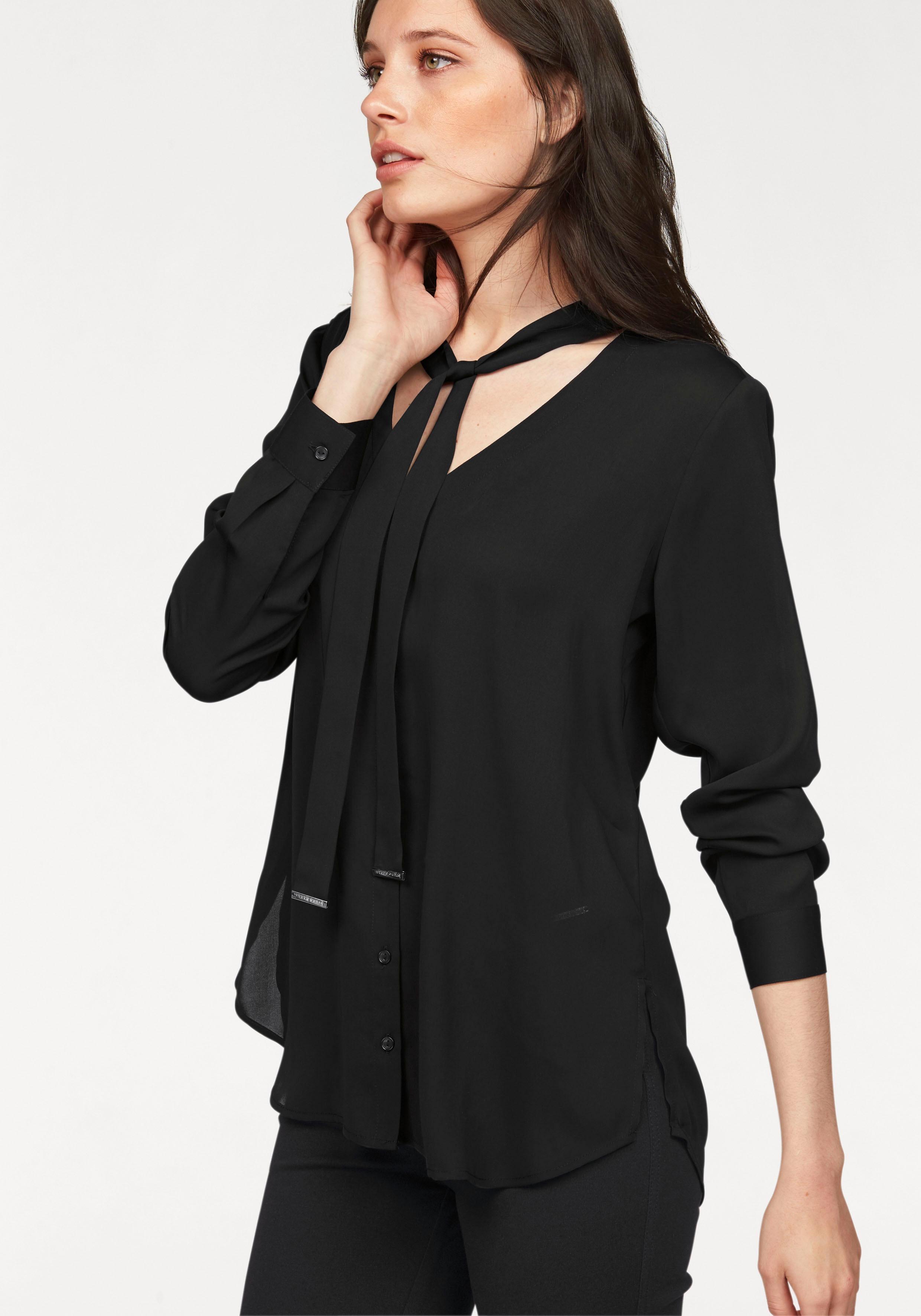 blouse met strik zwart