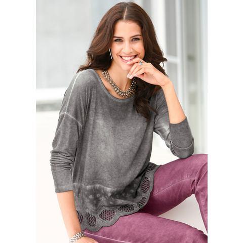 Création L NU 15% KORTING: Shirt met kanten strook bij de zoom