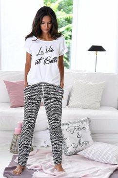 S.OLIVER pyjama met zwart/wit-dessin »La Vie est Belle«