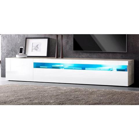 Lowboard breedte 200 cm beton-look hoogglans-wit TV-kast 261