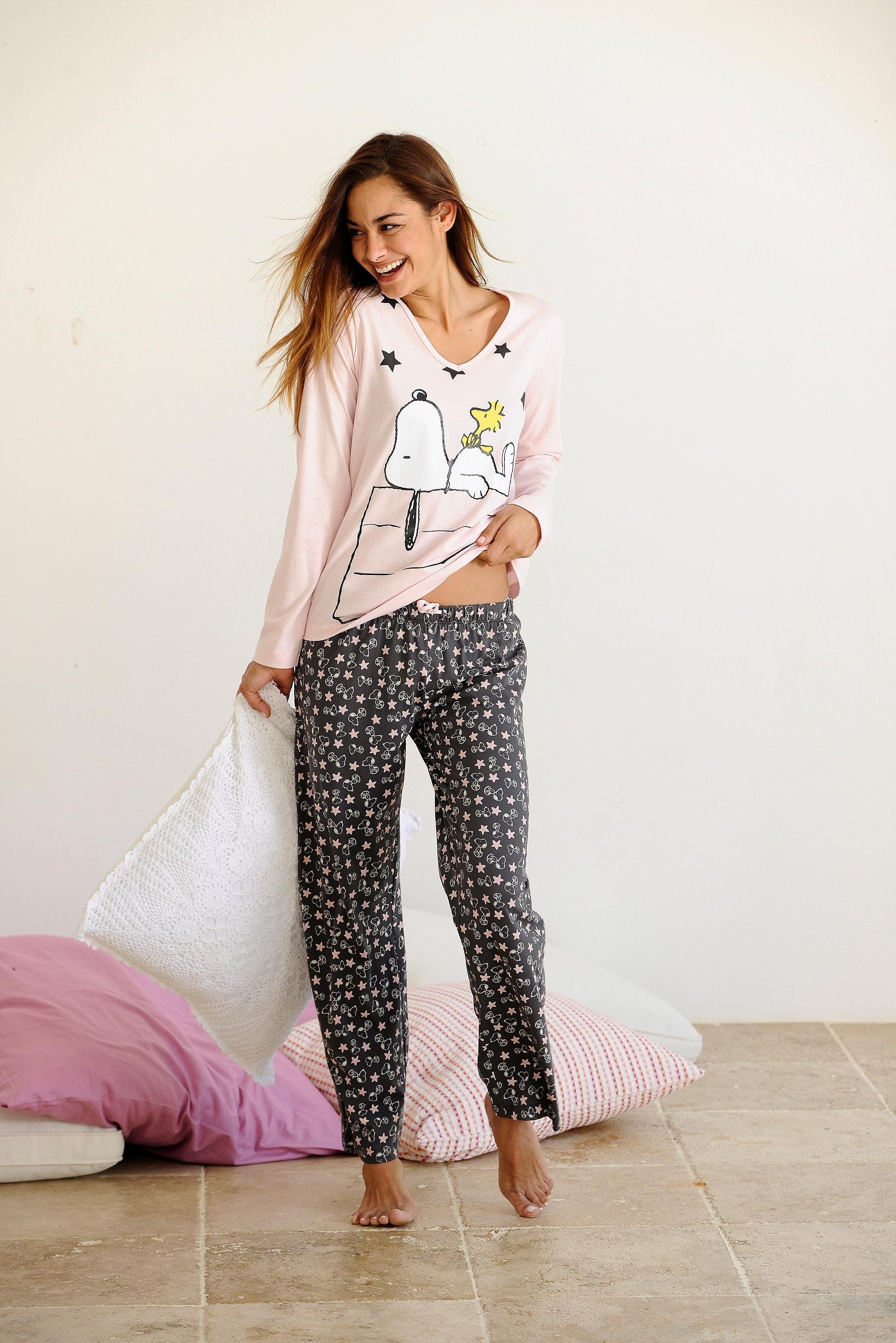 Peanuts lange pyjama met schattig snoopy dessin online shop otto - Snoopy dessin ...