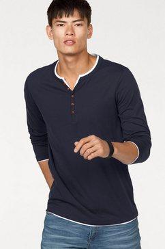 john devin shirt met lange mouwen met laagjesinzetten blauw