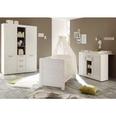 Complete babykamer Landhuis babyledikantje+babycommode + garderobekast, (3-dlg.), wit