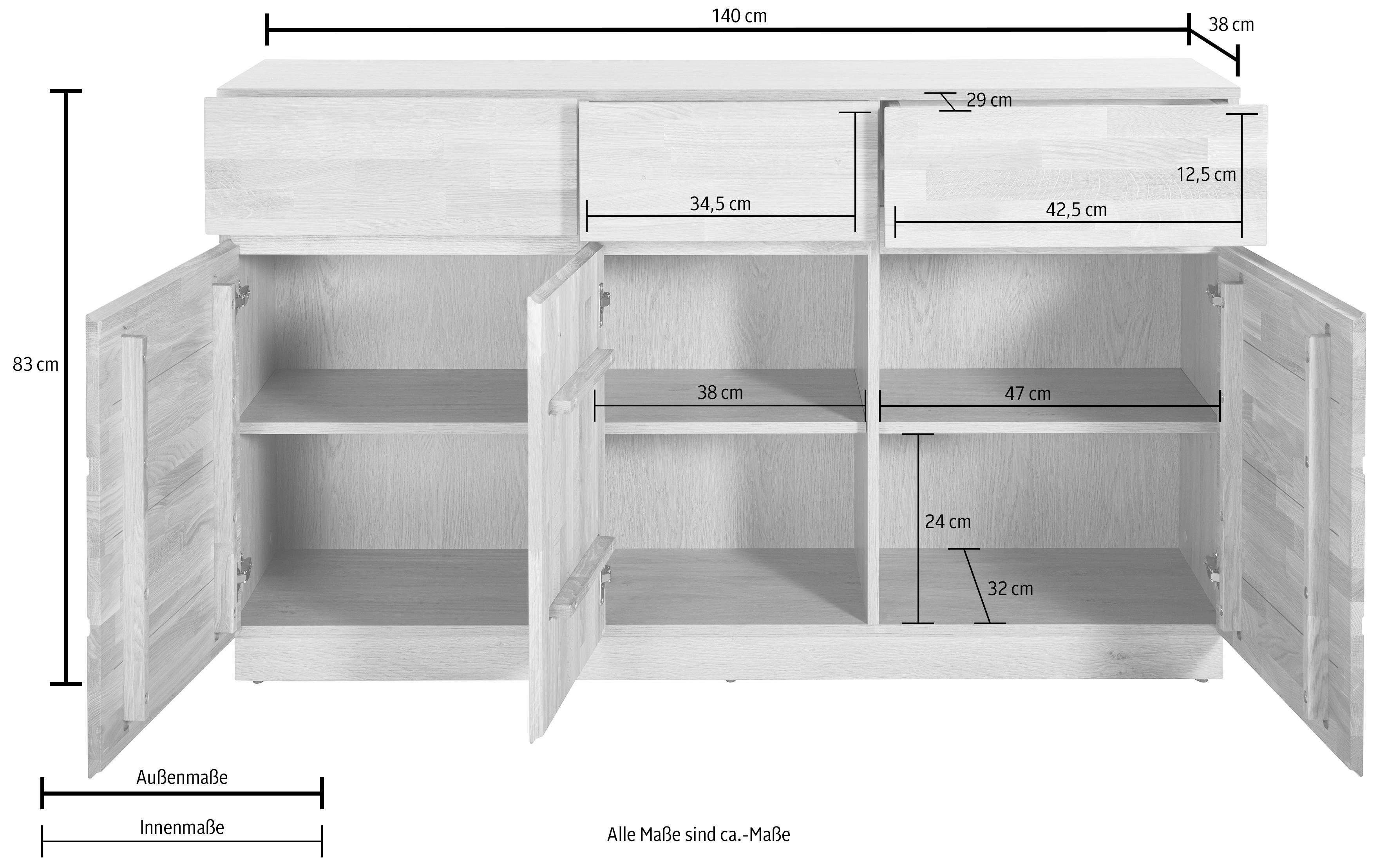 sideboard breedte 140 cm in de online winkel otto. Black Bedroom Furniture Sets. Home Design Ideas
