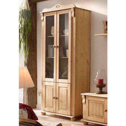 HOME AFFAIRE kast 4-deurs Adele hoogte 185 cm geloogd geolied vitrinekast 146