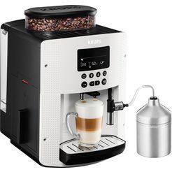 krups volautomatisch koffiezetapparaat ea8161, auto-cappuccinosysteem, wit, lcd-scherm wit