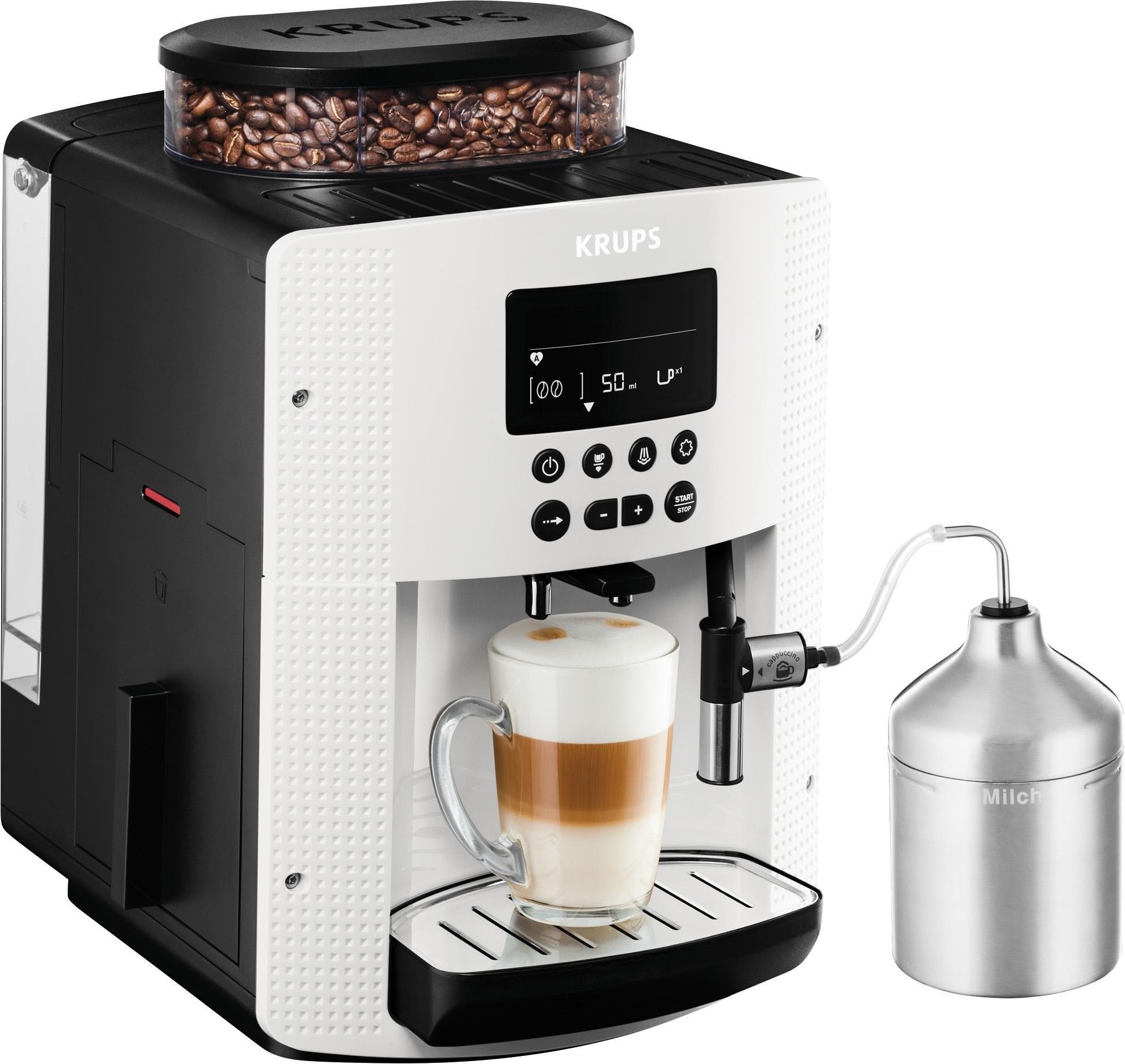 Krups volautomatisch koffiezetapparaat EA8161, auto-cappuccinosysteem, wit, LCD-scherm nu online bestellen