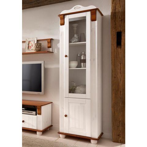HOME AFFAIRE kast Adele 2-deurs hoogte 185 cm wit kersenhoutkleur vitrinekast 115