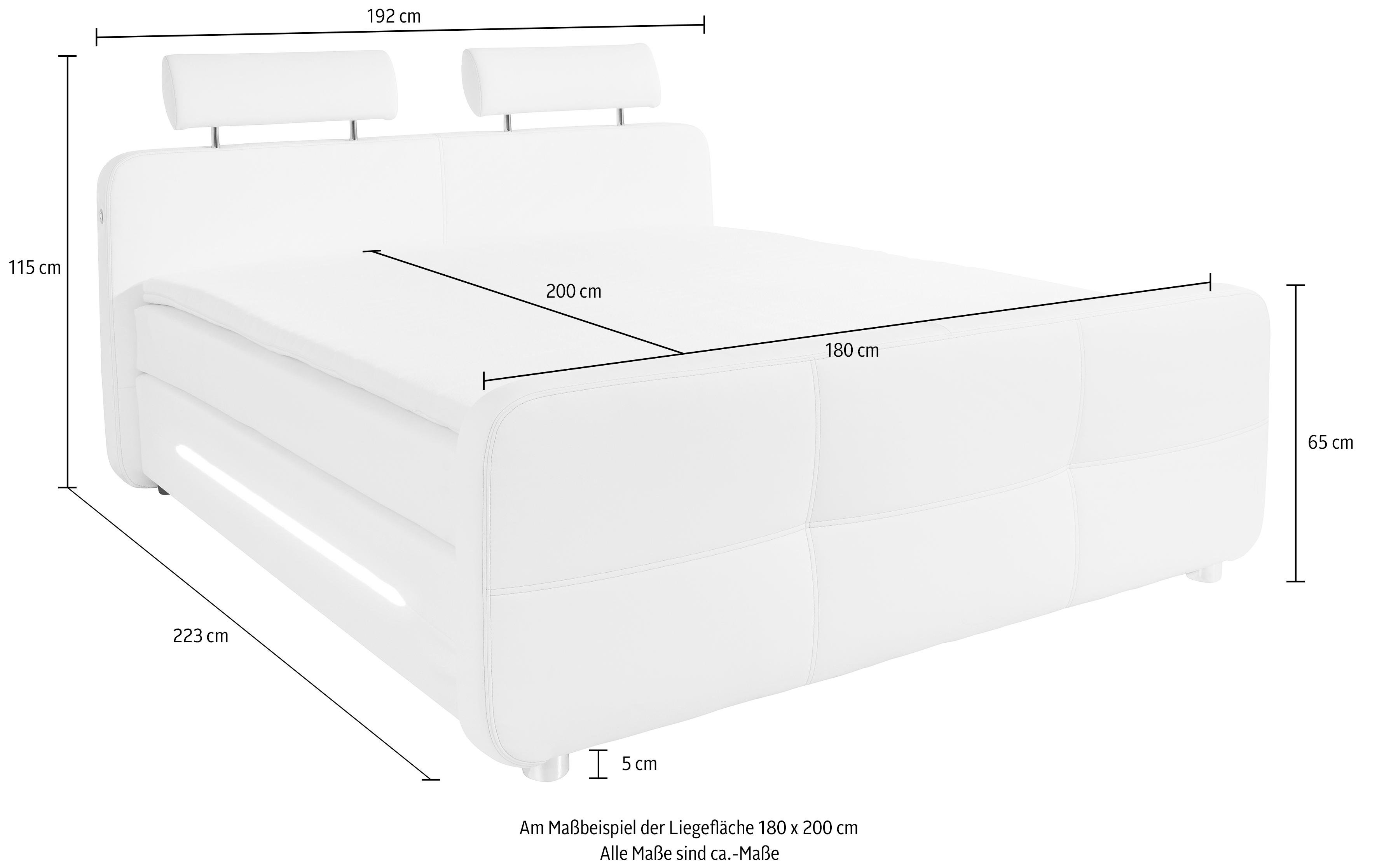 roomed boxspring incl topmatras en led verlichting wit